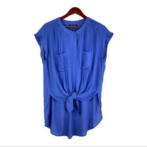 NWY Context Tie Front Sheer Sleeveless Blouse